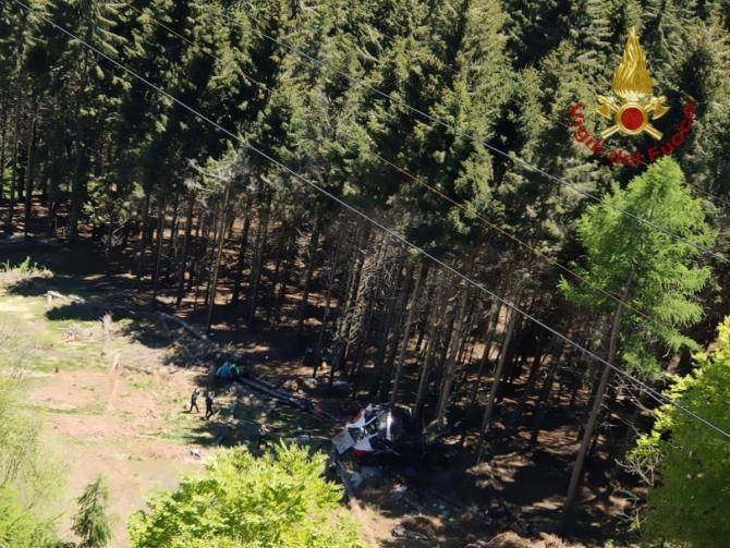 Accident teleferic Italia Sursa foto: Vigili del Fuoco/Twitter