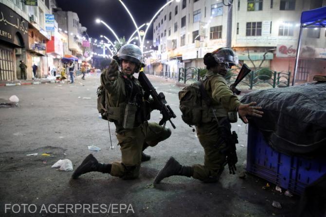 Trupele israeliene, în timpul ciocnirilor cu protestatarii palestinieni în centrul orașului Hebron din Cisiordania