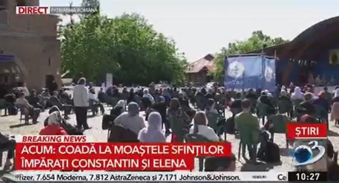 Coadă la moaștele Sfinților Împărați Constantin și Elena de la Patriarhie  /  Sursă foto: Captură Antena 3