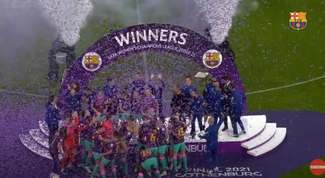 FC Barcelona a câștigat finala Champions League la fotbal feminin după ce a învins-o pe Chelsea, scor 4-0 / Captură Video FC Barcelona YouTube
