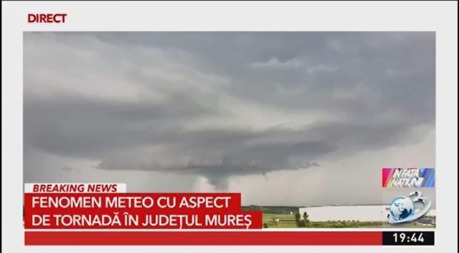 Furtună cu aspect de tornadă în județul Mureș / Sursă foto: Captură A3