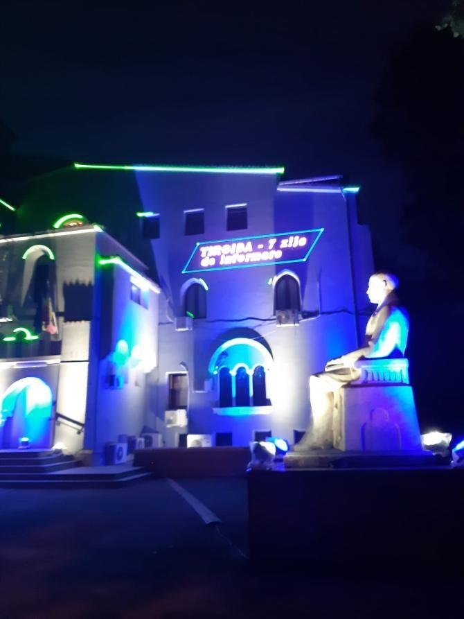 Institutul Parhon, iluminat cu laser pentru avertizarea asupra riscurilor/ foto PSD