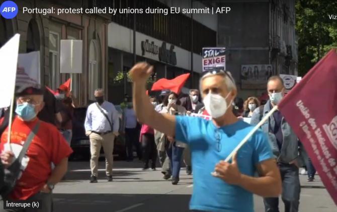 Mii de manifestanţi au protestat la Porto împotriva summitului UE: Este o dezamăgire / Captură video AFP YouTube
