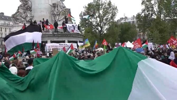 Protest pro-Palestina în Paris, la două zile după încetarea focului  /  Sursă foto: Captură Youtube Ruptly
