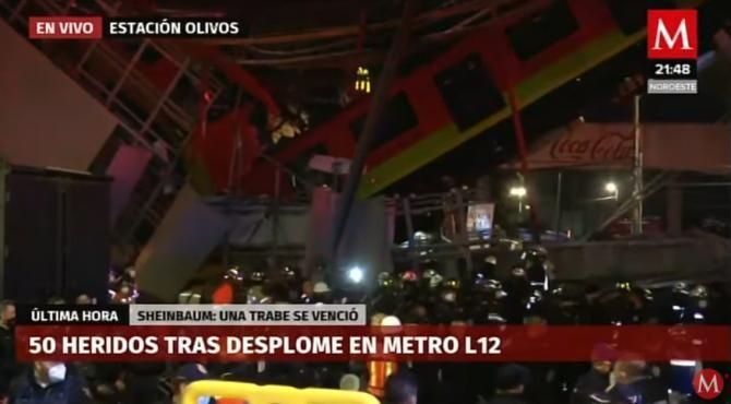 Un pod pe care trecea o linie de metrou s-a prăbușit peste mașinile din trafic în Mexic. Cel puţin 13 morţi şi 70 de răniţi / Captură video Milenio TV YouTube