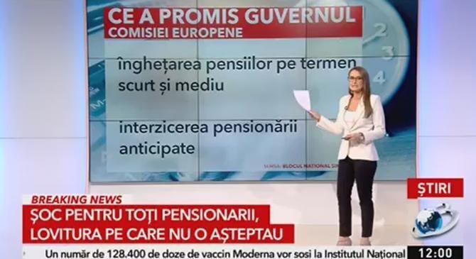 Antena 3 - Document privind înghețarea pensiilor, prezentat de Guvernul României la Bruxelles  /  Sursă foto: Captură Antena 3