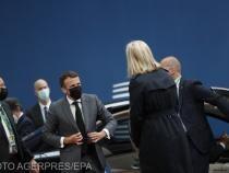 Președintele Franței Emmanuel Macron ajunge la întâlnirea liderilor Uniunii Europene la Bruxelles