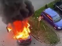 foto captură video/ Mașina în care se afla Ioan Crișan, după explozie