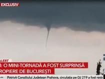 O mini-tornadă a fost surprinsă în nordul Capitalei  /  Sursă foto: Captură Antena 3