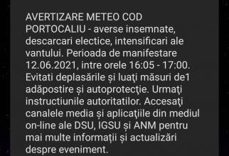 RO-ALERT în Bucureşti, COD PORTOCALIU de ploi