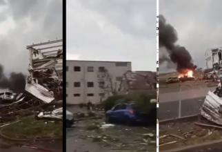 Clădiri distruse, copaci smulşi din rădăcini, maşini avariate, precum şi incendii