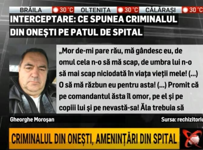 Criminalul din Onești, amenințări din spital / Foto: Captură video Realitatea Plus