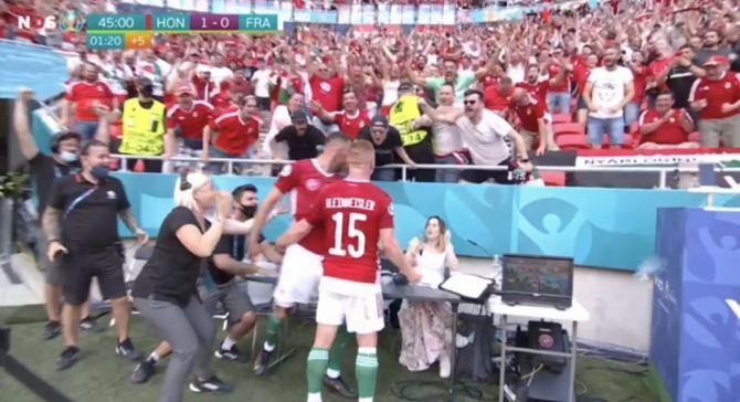 Nebunie la Budapesta. O jurnalistă, victima bucuriei maghiarilor în meciul cu Franța de la EURO 2020 / Video