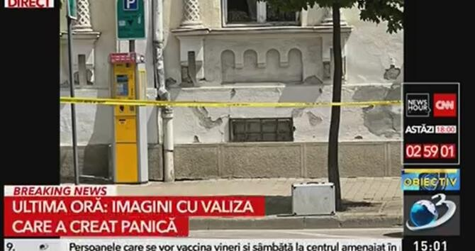 Valiză suspectă în centrul Aradului, lângă primăria orașului  /  Sursă foto: Captură Antena 3