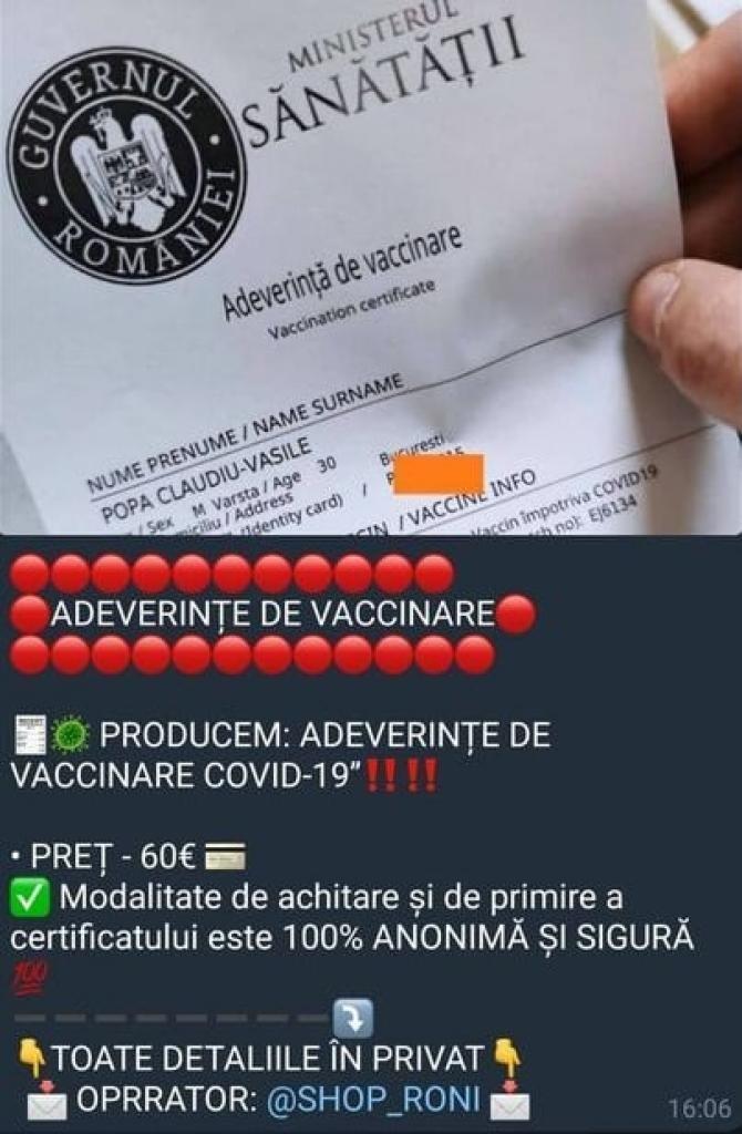 Adeverință vaccinare falsă, oferă/ Foto CERT-RO