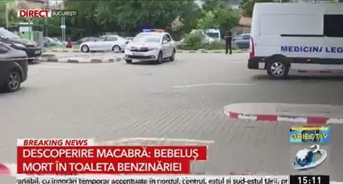 Bebeluș mort, găsit în toaleta unei benzinării din București  /  Sursă foto: Captură Antena 3