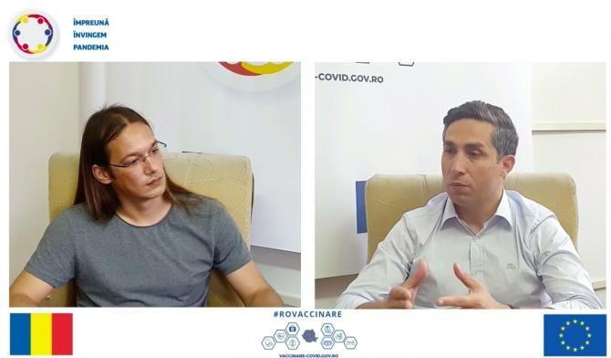 Cătălin Țucureanu și Valeriu Gheorghiță / Foto Captură video ROVaccinare