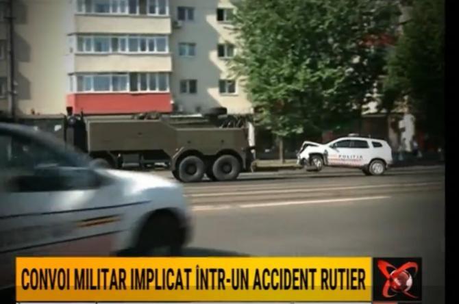 Convoi militar, implicat într-un accident rutier în Capitală / Foto: Captură video Realitatea Plus