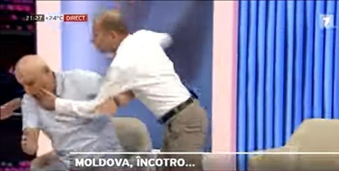 """Doi politicieni din Republica Moldova s-au luat la bătaie într-o emisiune: """"Nu mă fă lepădătură!""""   /  Sursă foto: Captură Moldova 1"""