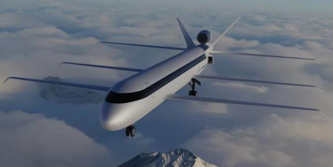 Un start-up american a elaborat planurile unui avion inovator cu trei perechi de aripi   /  Sursă foto: Captură Youtube