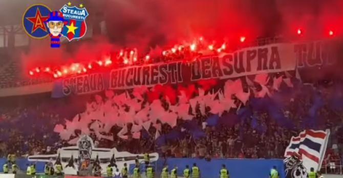 Show pirotehnic în Ghencea. Ultrașii Stelei au aprins torțe și fumigene la debutul în Liga a 2-a cu Csikszereda / Captură Video Ultras Style Steaua București YouTube