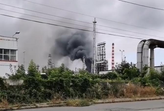 Incendiu la rafinăria Lukoil din Ploiești   /   Sursă foto: Captură Facebook Observatorul Prahovean