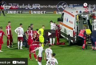 Scene de groază la Dinamo-Rapid. Alexandru Răuță s-a prăbușit pe teren. A fost urcat în ambulanță cu mască de oxigen