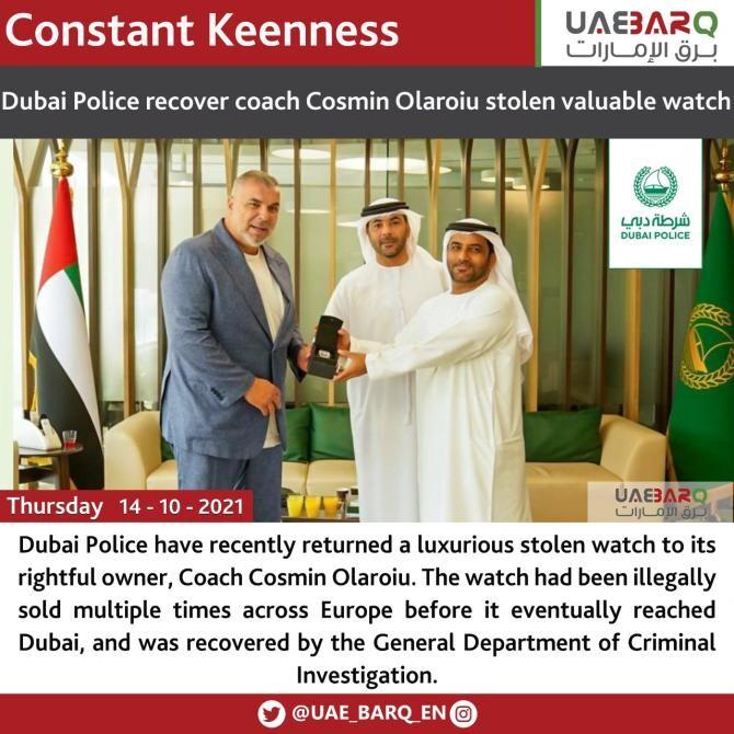 Poliţia din Dubai a recuperat ceasul de 180.000 de euro care îi fusese furat lui Cosmin Olăroiu