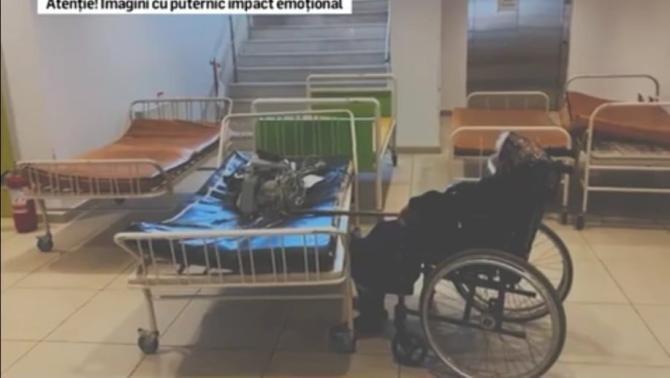 Imagini dureroase la Spitalul Județean Craiova. Pacienții, tratați direct pe tărgi / Foto: Captură video Realitatea Plus